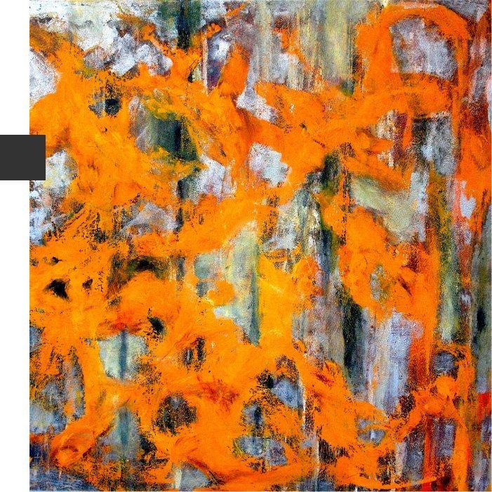 quadro arancione astratto per serie damasco